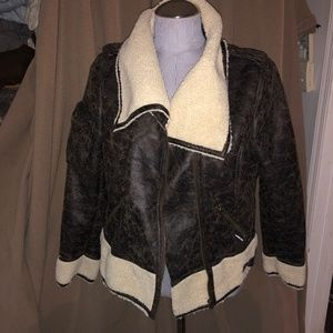 MO Members Only NWT brown faux shearling Bomber L